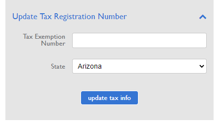 Tax Exemption Number and State fields
