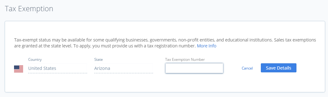 Country, State, and Tax Exemption Number fields