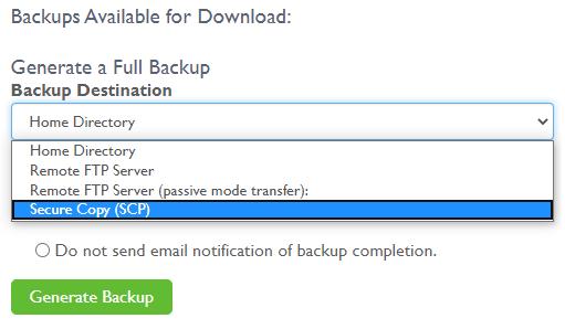 Backup options - Generate Backup