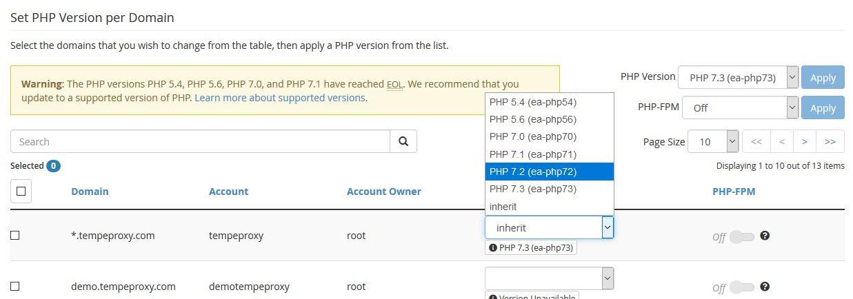 php-version-dropdown