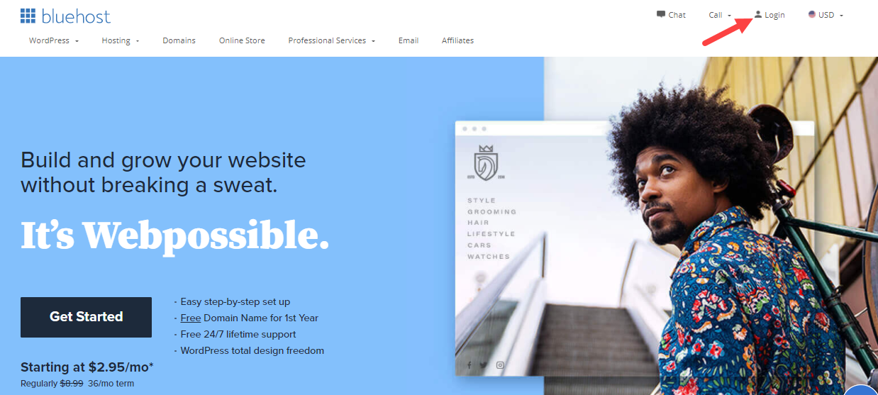 bluehost-front-of-site-login