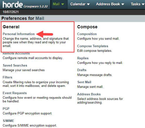horde-personal-email-settings