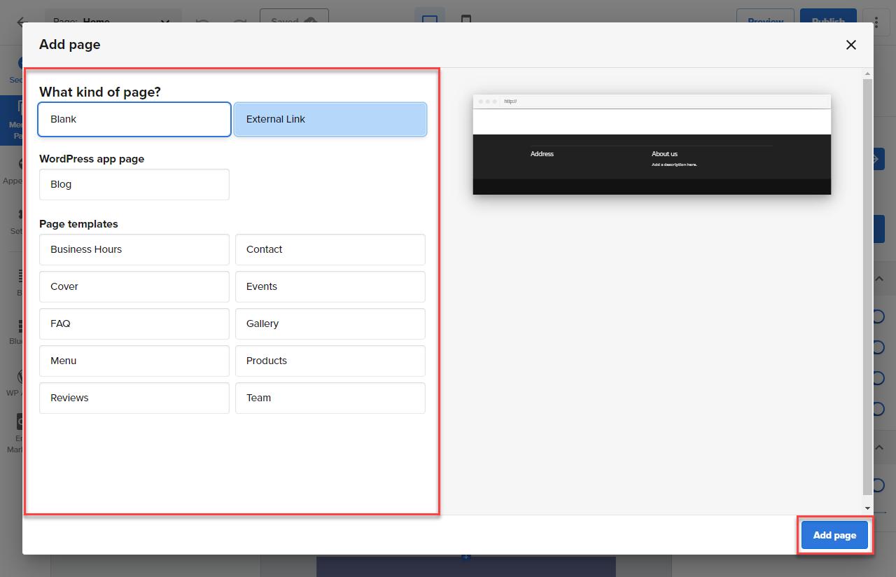 Website-Builder-Page-or-External Link