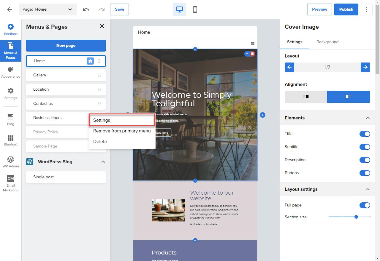 website-builder-settings