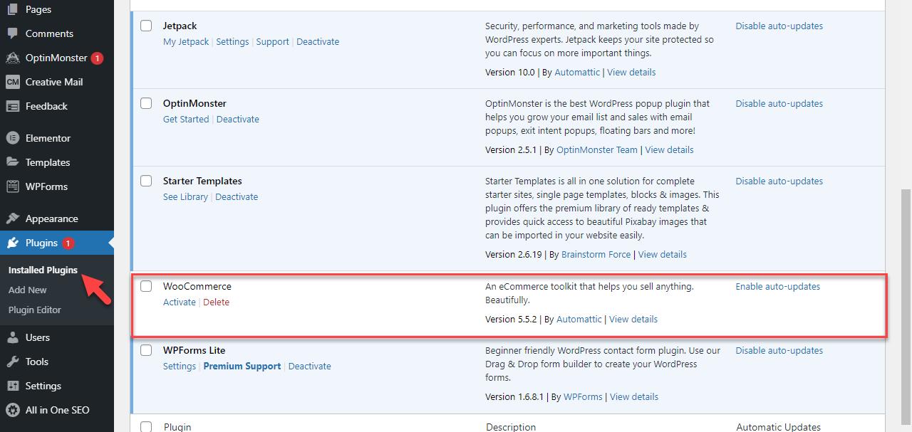 WordPress - Plugins Page