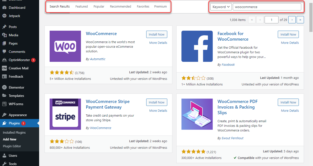 WordPress - Search for Plugins