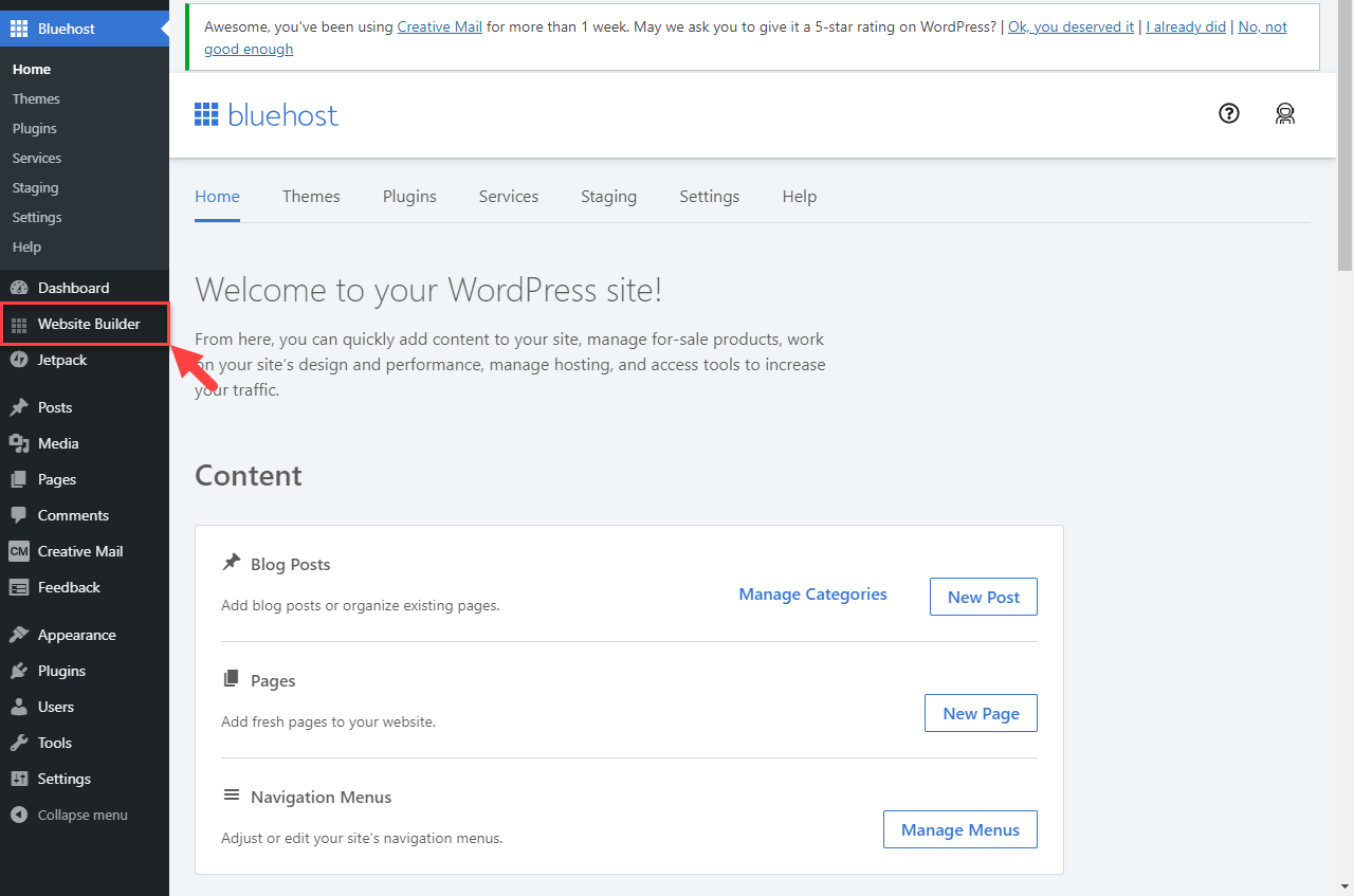 WordPress Dashboard - Website Builder