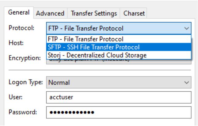SFTP-settings