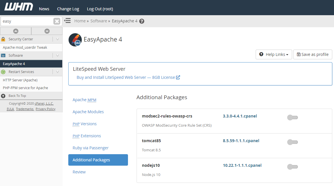 WHM - Easy Apache 4 additional packages
