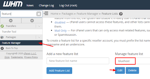 WHM - Manage Feature List